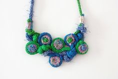 Knit, crochet, knot necklace with bamboo beads, green blue, OOAK. $87.00, via Etsy.