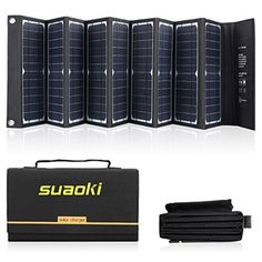 Suaoki Solar Charger 60W Portable Solar Panel Foldable High Efficiency 5V USB 18V DC Dual Output Charger for Laptop Tablet GPS iPhone iPad Camera Other 518V Device ** Click for more Special Deals #SolarCharger