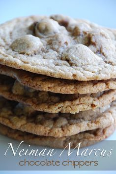 Neiman Marcus $250 cookies. This is a really popular recipe, if you haven't tried it, you must.  The ground oatmeal gives this cookie a special nutty goodness.