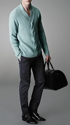 Aran Knit V-Neck Sweater   Burberry