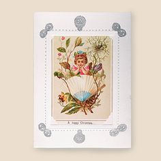 A HAPPY CHRISTMAS- Handmade card with Original Victorian seasonal calling card mounted in quality card frame