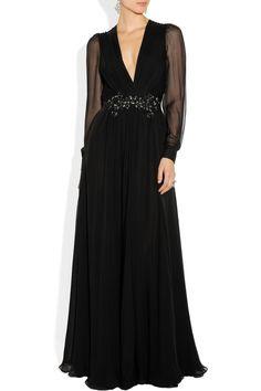 Gucci|Embellished silk-chiffon gown|NET-A-PORTER.COM
