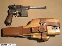 Original Waffenfabrik Mauser semi automatic pistol with add-on buttstock/holster. Not much finish left, but a really cool and collectible gun. 7.63 Caliber.