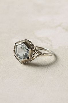 Deco Aquamarine Ring Birthstone... so pretty