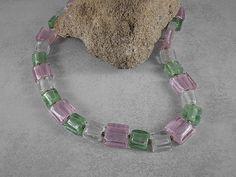 verkauft - Kette Quadrate silber rosa lindgrün - ein Designerstück von Wildfee…