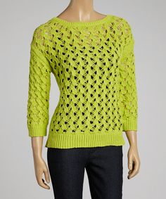Loving this Chartreuse Boatneck Sweater on #zulily! #zulilyfinds