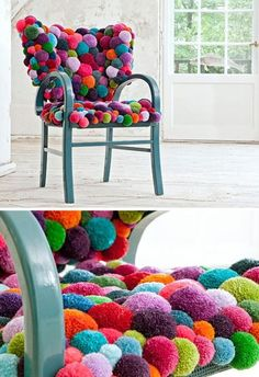 "from Dornob, this might not work for every day furniture, but great for an accent piece. The site says, ""There are up to 1300 woollen pompons and respectively up to 45 kg of wool forming one single object."" This would be super fun in a playroom! Wonder if you could DIY? by proteamundi"
