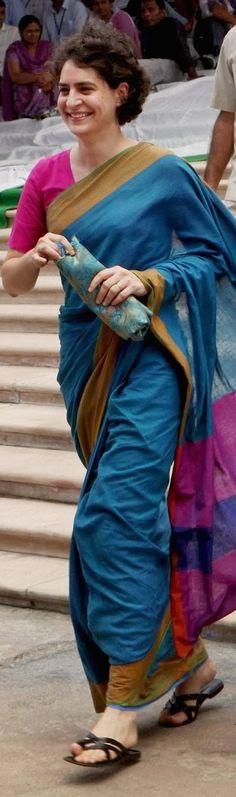 Priyanka Gandhi in cotton handwoven Saree - Saree_inspiration - original pin by @webjournal