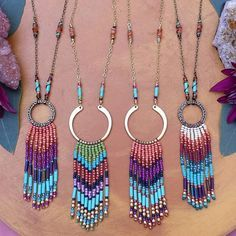 New fringe necklaces! What do you think? I *love* beadweaving! I have been doing it for a few years, and it gives my hands and wrists a nice break from wirewrapping, so there will be more beadwoven pieces to come! I just have these for tonight because #momlife *but* I'll be able to list some of the beaded wire pendants for you tomorrow! What else are you hoping to see? Thanks loves Have a most beautiful night! {Linkinbio} xoxo .. . .. #fringe#color#beadweaving#necklaces#sty...