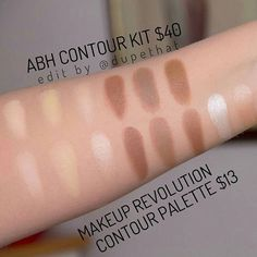 Check out these swatches shared by @anatomiqe! The @makeuprevolution contour palette looks just like the contour kit from Anastasia Beverly Hills, but with a few highlights! Tag your photos with #dupethat for a chance to be featured!