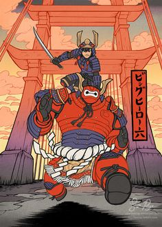 Risachantag - The art of Lisa Rye, Big Hero 6 Ukiyo-e After getting through the Big Hero 6 2, Character Art, Character Design, Arte Cyberpunk, Susanoo, Nerd Art, Baymax, Marvel Art, Disney And Dreamworks