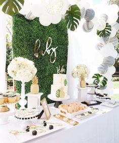 Tropical sweet table from a Modern Hawaiian Baby Shower on Kara's Party Ideas   KarasPartyIdeas.com (13) #decoracionbabyshower