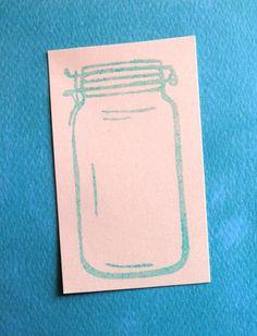 retro mason style canning jar - rubber stamp