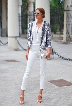 white and silver outfit