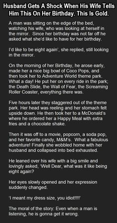 Husband Gets A Shock When His Wife Tells Him This On Her Birthday... funny jokes story lol funny quote funny quotes funny sayings joke hilarious humor stories marriage humor funny jokes