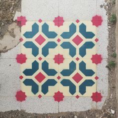 New Spray Painted Tile Floor Patterns in Abandoned Spaces by Javier De Riba.