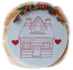 Redworkstickerei im Stickrahmen von Die Geschenkidee auf DaWanda.com