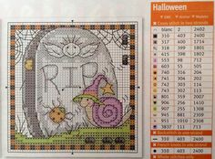Happy Halloween! Cross stitch pattern and color key chart.
