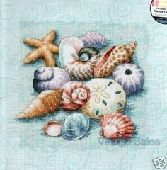 Dimensions Counted #crossstitch  Shells On Blue #DIY #crafts #decor #needlework #crossstitching