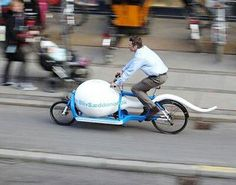 Sperm awareness bike travels a thousand miles to reach the holy grail. They should prepare a matching egg trailer for the bike to jump in.