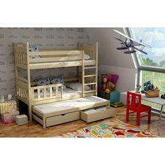 Dětská patrová postel s výsuvnou přistýlkou z MASIVU bez šuplíku - PV001 Bed In Living Room, Kids Furniture, Bunk Beds, Exterior Design, Interior Inspiration, Teak, Toddler Bed, House, Home Decor