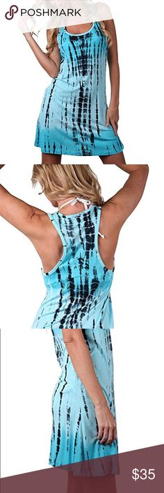 Blue Tie Dye Summer Tank Dress Brand new. 100% rayon. Dresses Mini