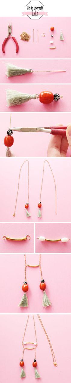 do it yourself sautoir double à perles & pompons  #diy #mode #bijoux