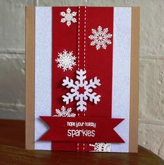 handmade Christmas card from Dreams & Other Realities: BE Inspired Holiday Sparkles.red and white panels on kraft base . white die cut and heat embossed snowflakes on red . luv the bright crisp look . Homemade Christmas Cards, Christmas Cards To Make, Christmas Tag, Xmas Cards, Christmas Greetings, Homemade Cards, Handmade Christmas, Holiday Cards, Christmas Crafts