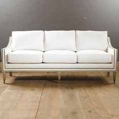 Griffin Sofa with Aged Brass Nailheads - many fabrics or COM - love the clean lines and the casters on the legs