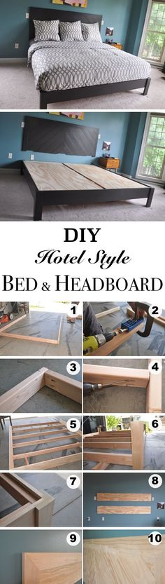 DIY Hotel Style Bed Frame and Headboard #KidsBedroomFurniture