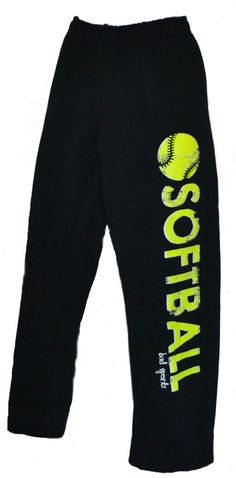 SOFTBALL Sweatpants in Black with Neon Yellow Printing