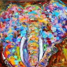 Large Original oil painting Wild Elephant by Karensfineart on Etsy