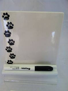 Dry Erase Message Board Ceramic Tile Paw Prints
