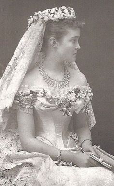 Princess Louise of Prussia 1878 who married the Prince Arthur,Duke of Connaught and Strathearn.  In photos at least, this lady never looked other than about to weep.