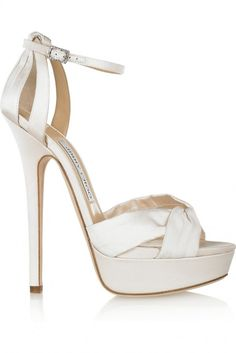 ee49c163f8a6 Jimmy Choo Fairy satin platform sandals Heel measures approximately inches  with a 2 inch platform.