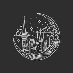 Moon castle scene! #graphicdesign #design #illustration #art #artwork #drawing #handdrawn #castle #moon #outdoors #adventure #slowroastedco #explore by liamashurst