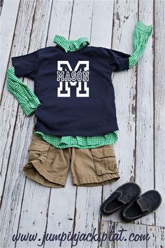 Personalized Boy Athletic Name tee's! 3 Colors {Jane Deals}