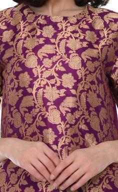 Purple Zari Jamawar Banarasi Hand Woven Pure Silk Kurta With Skirt