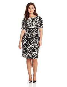 Adrianna Papell Women's Plus-Size Elbow Sleeve Printed Dress - http://18xl.com/adrianna-papell-womens-plus-size-elbow-sleeve-printed-dress/
