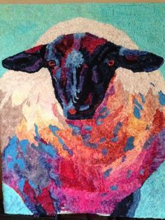 Suffolk Ewe, #6 cut on line, designed and hooked by Sheila Stewart
