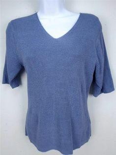 Salvatore Ferragamo Blouse Silk Chain Mail Womens Stretch Blue Short Sleeve M #SalvatoreFerragamo #KnitTop #Career