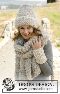 """Set consists of: Knitted DROPS hat, scarf and wrist warmers in """"Puddel"""". ~ DROPS Design"""