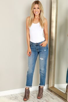 Classic Distressed Jeans Medium Blue,  A classic pair of denim jeans that are semi cropped with a cuff able hem, lighter denim towards the knees that fade out into a darker denim, light distressing along the front, two front pockets, two back pockets, be