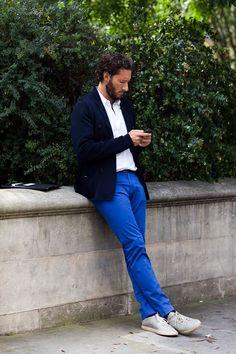 Navy pants, blue pants, white shirt, men's fashion style dress