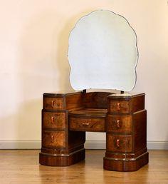Art Deco Walnut Pedestal Dressing Table with Mirror, Vintage Dressing Rooms, Art Deco Dressing Table, 1930s Furniture, Art Deco Furniture, Art Deco Bedroom, Bedroom Decor, Art Deco Vanity, 1930s House, 1920s Art Deco