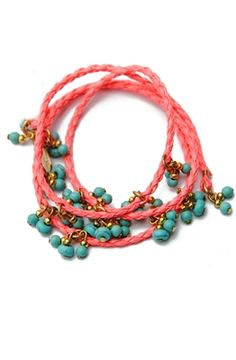 Turquoise and #coral color combinations are so in! This braided leather wrap #bracelet is a must-have for #summer!