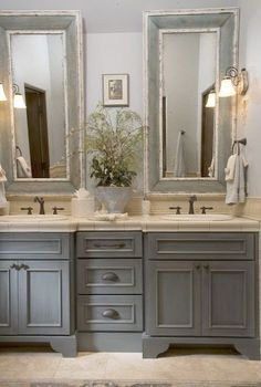 MFrench Country bathroom gray washed cabinets mirrors with painted frames chippy paint...