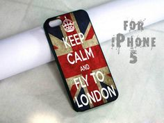 kepp calm fly to london - design case for iphone 5   shayutiaccessories - Accessories on ArtFire
