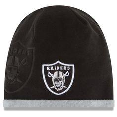 Men's Oakland Raiders New Era Black On Field Tech Knit Beanie