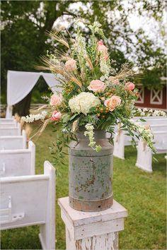 leche rústico flores para bodas jarra